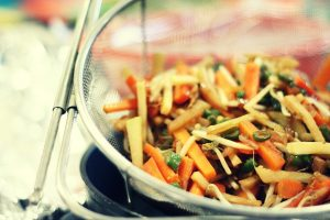 showing asian dish using edible bamboo